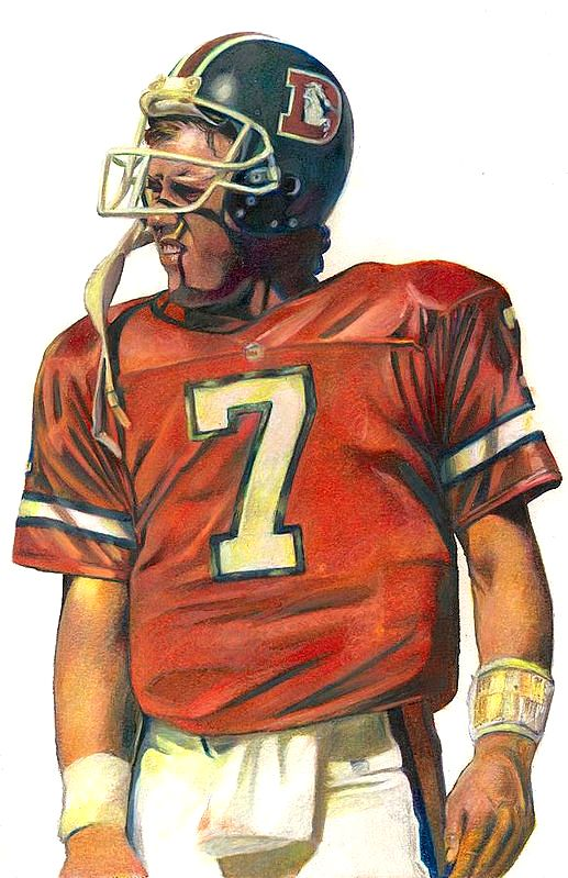 John Elway, Denver Broncos by Darren Chilton. colored pencil