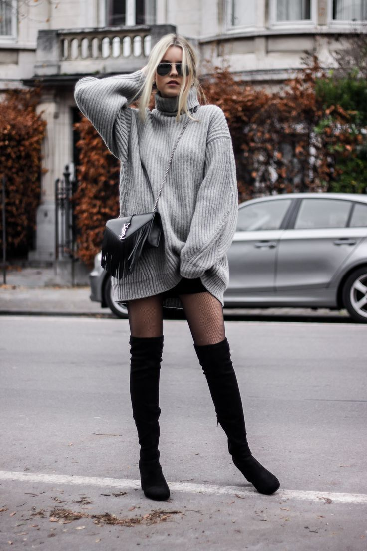 Übergroße Pullover Netzstrumpfhose Pullover Kleid