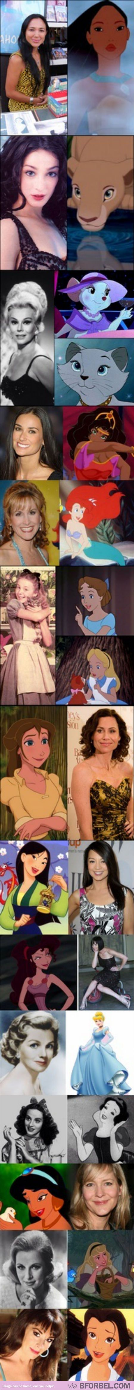 Disney Princesses and their voice actresses. Demi Moore was Esmeralda?!