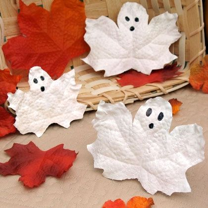 Rosetta's Fairy Leaf GhostsTurn each leaf so the points face up and use the scissors to round the top to resemble a ghost's head. Working on a waxed paper-covered surface, paint the leaves white (front and back). If needed, give them a second coat. While the paint is still tacky, sprinkle the surfaces with glitter. Once the paint dries, use the marker to draw on ghostly facial features.