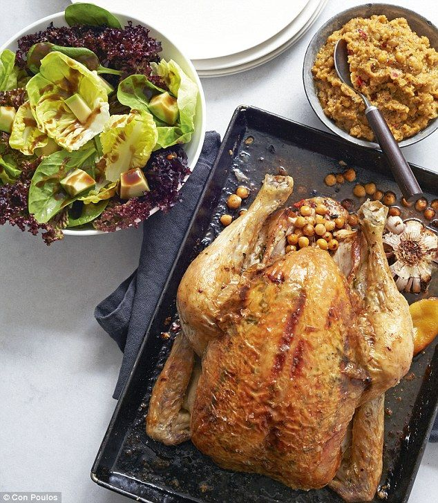 Roast chicken with chickpea stuffing and a big green salad, Gordon Ramsay, U Home Cooking