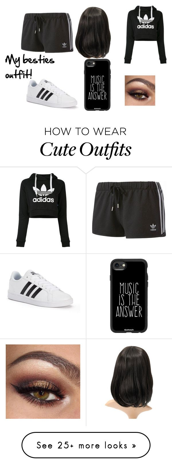 """My besties outfit!"" by i-love-cake3 on Polyvore featuring adidas and Casetify"