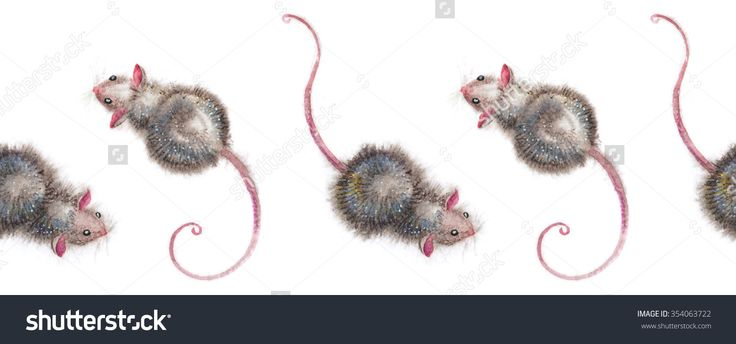 Nice mice seamless ornament - hand-drawn watercolor illustration of cute little mice. Can be used as a seamless border, and also as a seamless pattern to fill the space.