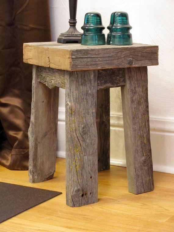 Reclaimed barnwood stool