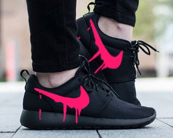 7f1cda86f390 Nike Roshe Triple Black with Custom Pink Candy Drip Swoosh Paint ...