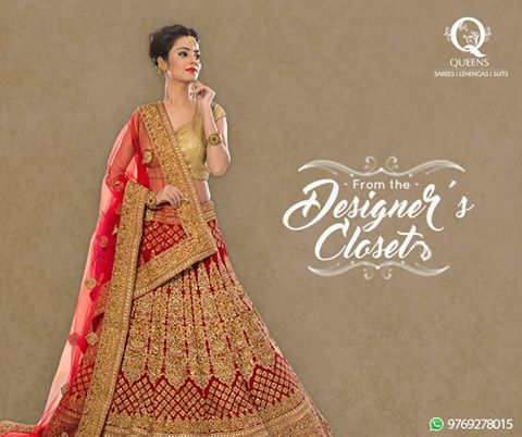 Authentic red and gold bridal ensemble from Queens Emporium. Visit us now and take advantage of our Season Sale.   #QueensEmporium #Sale #Lehengas