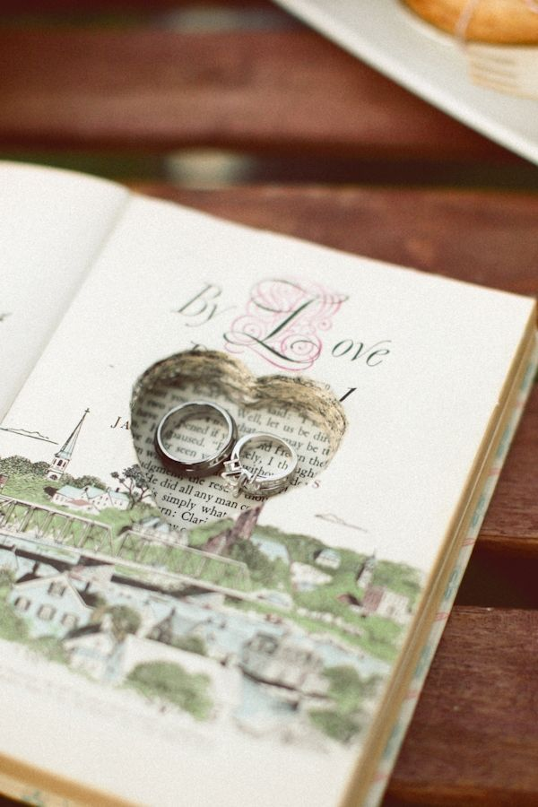 Instead of a pillow for your rings use a hollowed out book. Perhaps one of your favorite love stories?