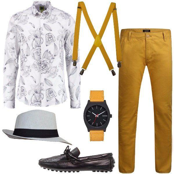 Un outfit per l'uomo che ama essere originale e farsi notare formato da una camicia di cotone a maniche lunghe bianca con fiori stampati in nero, un pantalone in cotone, un paio di mocassini in pelle nera. Il look si completa con un paio di bretelle gialle, un borsalino in bianco e nero e un orologio con cinturino giallo e quadrante nero.