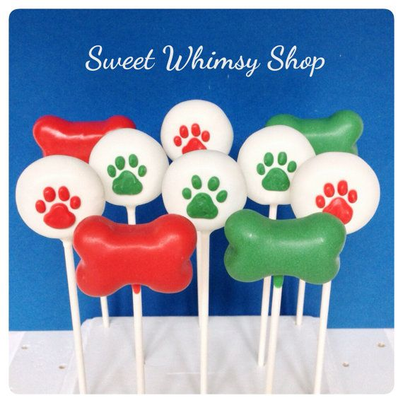 12 Dog Theme Cake Pops in Bone and Paw Print shapes, for Puppy Party, birthday, Santa Paws, groomer gift, petsitter, dog lover, Christmas