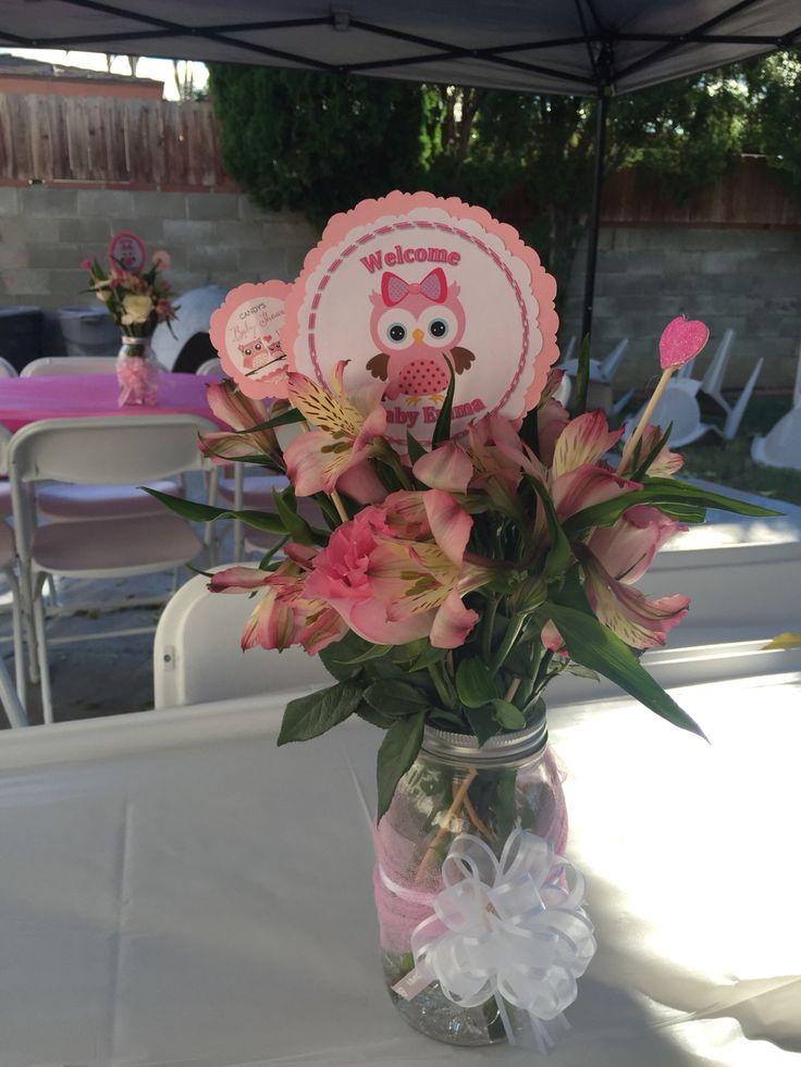 Baby Girl Centerpiece Owl theme