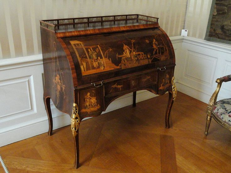 Cylinder desk by David Roentgen, 1773-1775. Furniture exhibited in the Münchner Residenz, Munich, Germany.