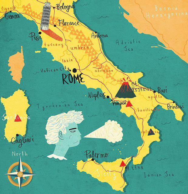 Map of Italy by Patrick O'Leary Illustration