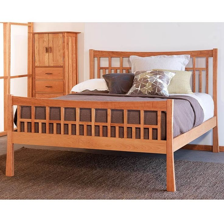 Contemporary Craftsman High Footboard Platform Bed Trundle Option