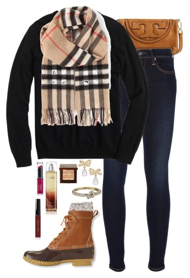 """Burberry scarf"" by kaley-ii ❤ liked on Polyvore featuring Tory Burch, Ralph Lauren Blue Label, J.Crew, River Island, Burberry, L.L.Bean, Kate Spade, Bobbi Brown Cosmetics and Revlon"
