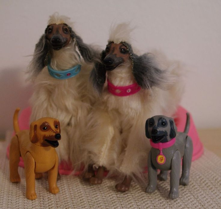 Barbie Hund Afghane Beauty mit Welpen RAR