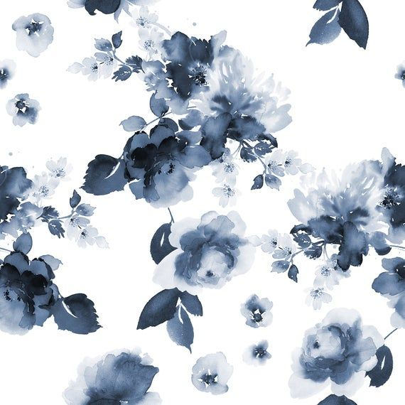 High Quality Peel And Stick Removable Self Adhesive Wallpaper Etsy In 2021 Watercolor Flowers Pattern Blue Flower Wallpaper Watercolor Flowers