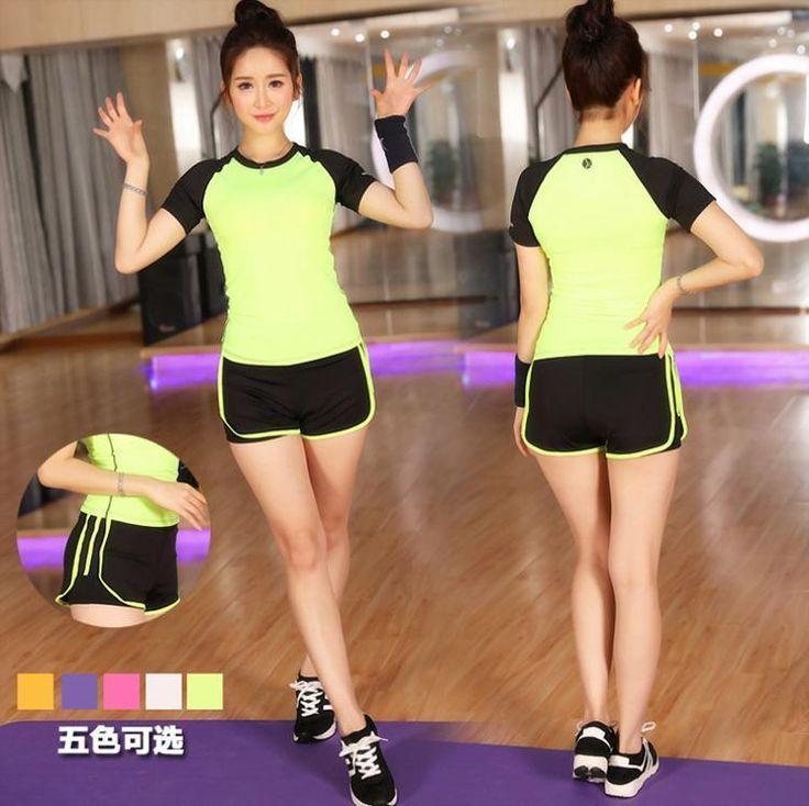 Women Sports Top T-Shirt Shorts Tracksuit Yoga Gym Short-Sleeve Sweat Suit S10