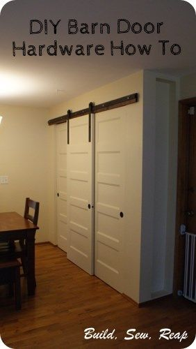 Pantry with DIY Barn Door Hardware by Julie @ Buildsewreap.com all three doors stack using regular closet doors, 2 on a track and a 3rd hanging as a barn door....