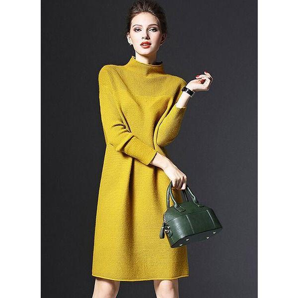 fd3122971ab4 Solid Ruffles Long Sleeve Midi Shift Dress (1955200289)   Clothes ...