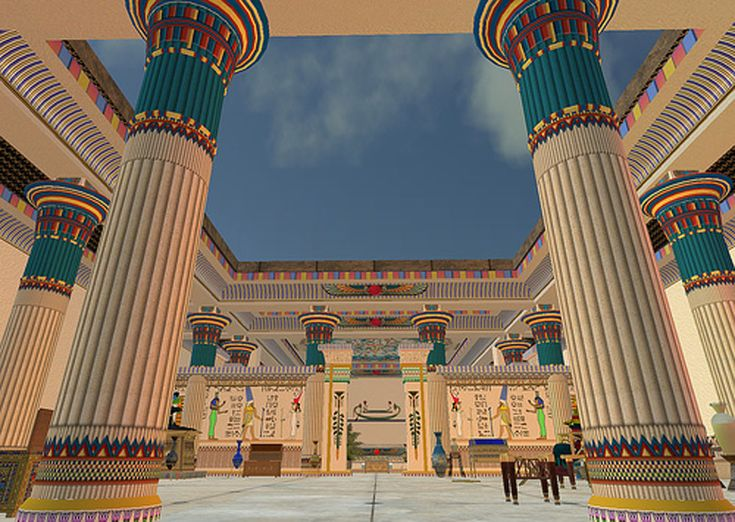 Ancient Egyptian columns with colorful painted designs