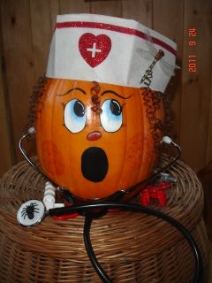 Nurse pumpkin...need to do this for the decorating contest at school!