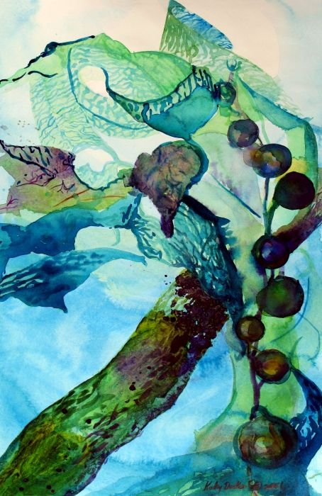 [ Love the colors! Just gorgeous <3 -J ] Abstract painting of seaweed by Kathy Dueker