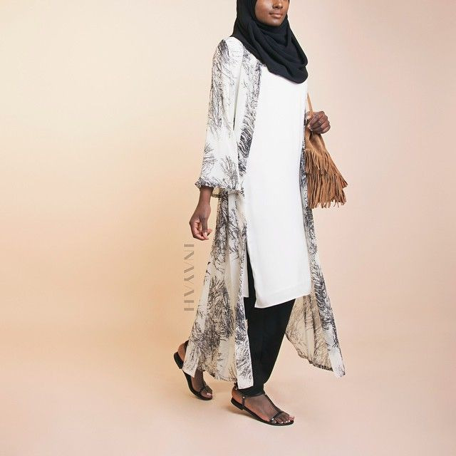 INAYAH | Maxi Printed #Kimono  + White Crepe #Midi + Black Georgette #Hijab + Black Crossover #Trousers  www.inayahcollection.com