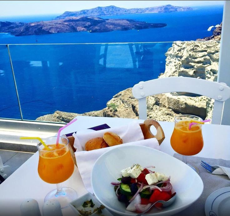 How about a crispy Greek salad accompanied by an amazing ‪#‎Santorini‬ view? At Volcano View Hotel Santorini, a light and healty ‪#‎lunch‬ is offered to our guests, containing unique local ingredients in a superb setting.  Photo by Schumi S at TripAdvisor
