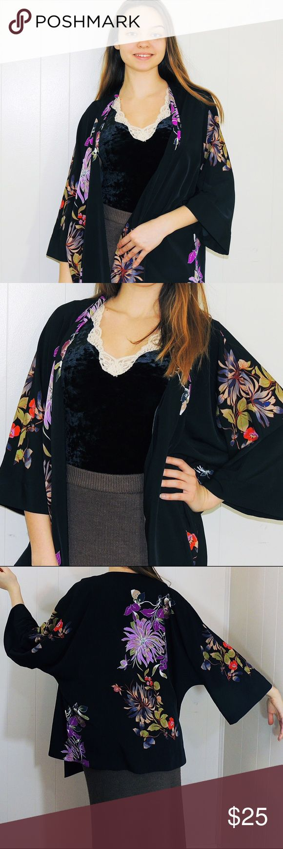 """Breezy Kimono Jacket For the artsy ladies among us, this beautiful Kimono jacket is a must have! Pair with tapered trousers, sweater skirts, or frayed jeans to add a little femininity to your outfit. Excellent used condition! 26"""" long, 23"""" Sleeve from neckline. 100% polyester. No trades, 25% off 2+ items! 👘 Alfani Jackets & Coats"""