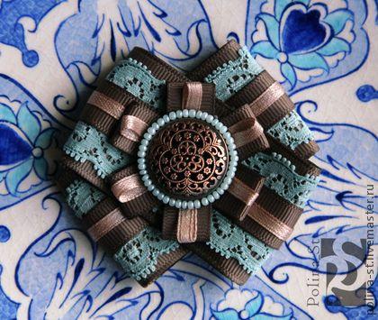 брошь 95 - бирюзовый,коричневый,бежевый,авторская работа,брошь,подарок для женщины