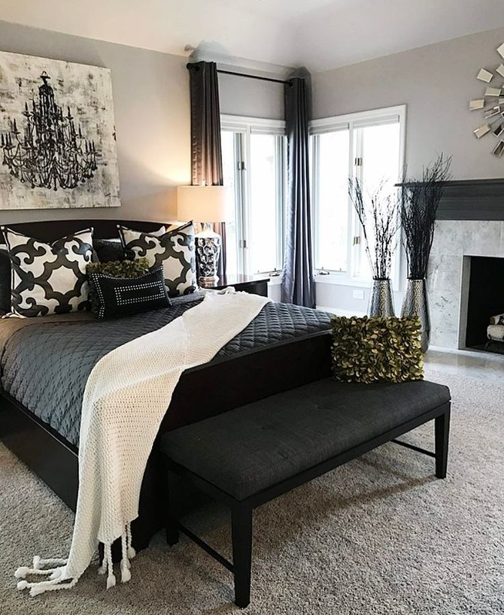 black curtains and furniture great way to darken up an apartment master bedroom - Bedroom Decorating Ideas With Black Furniture