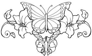 Flower Vine Tattoo with Butterfly | Butterfly Lower Back ...