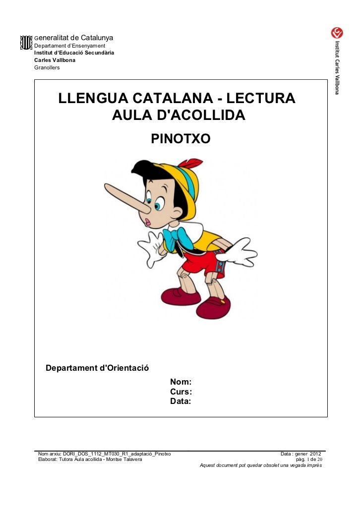 Generalitat de CatalunyaDepartament d'EnsenyamentInstitut d'Educació SecundàriaCarles VallbonaGranollers        LLENGUA CA...