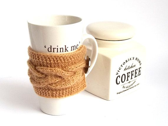 Brown Coffee Cup Cozy. Knitted Mug Cozy. Knit Tea by MallinaDesign, $12.50