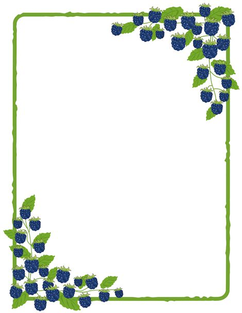 Beautiful Printable Blackberry Border. Use The Border In Microsoft Word Or Other  Programs For Creating Flyers Design