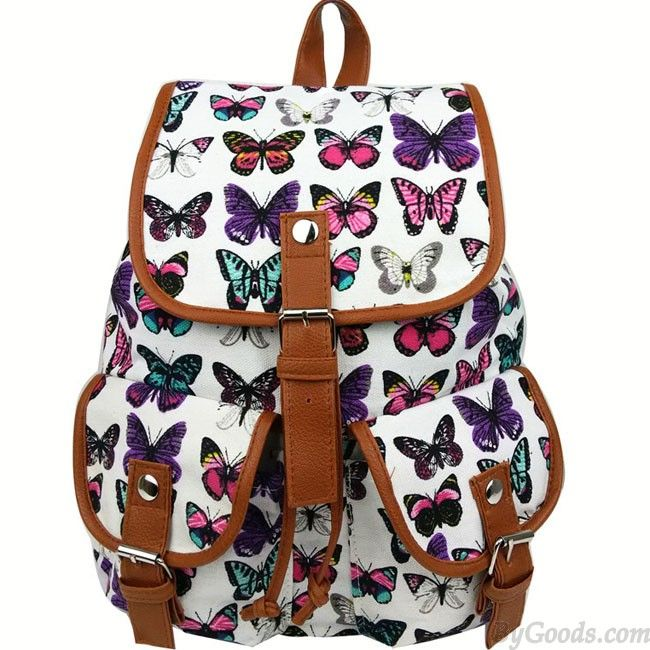 Leisure Butterfly Print Women Rucksack Two Pockets College Bag Canvas Backpack  only $29.99 from ByGoods.com