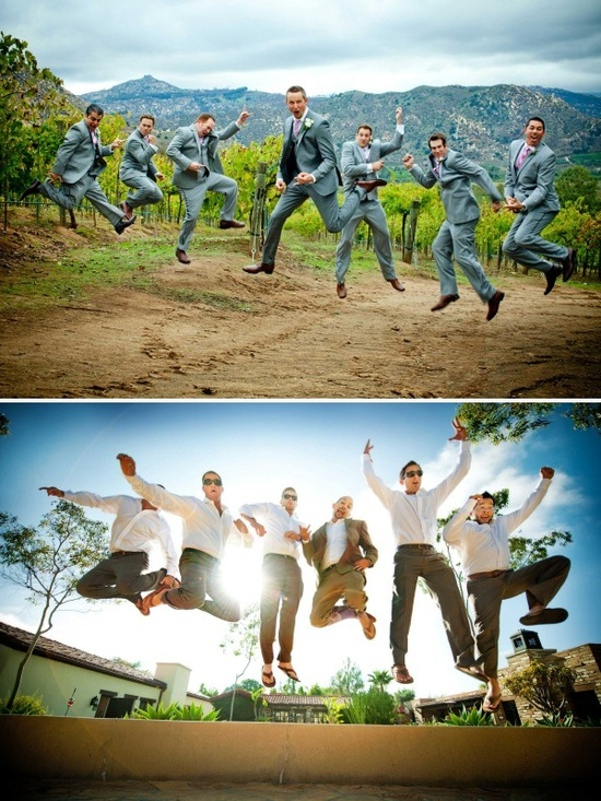 This is a time of fun, let us all have a little and share in these types of photos. I don't want there to be elegance on the bride side and fun on the guys only. Let's have a little of both on both sides. Take pictures of the bridal party running around outside and jumping around (no heels allowed ladies) and let's have a photo of the groom talking to his father and my father in the chapel.