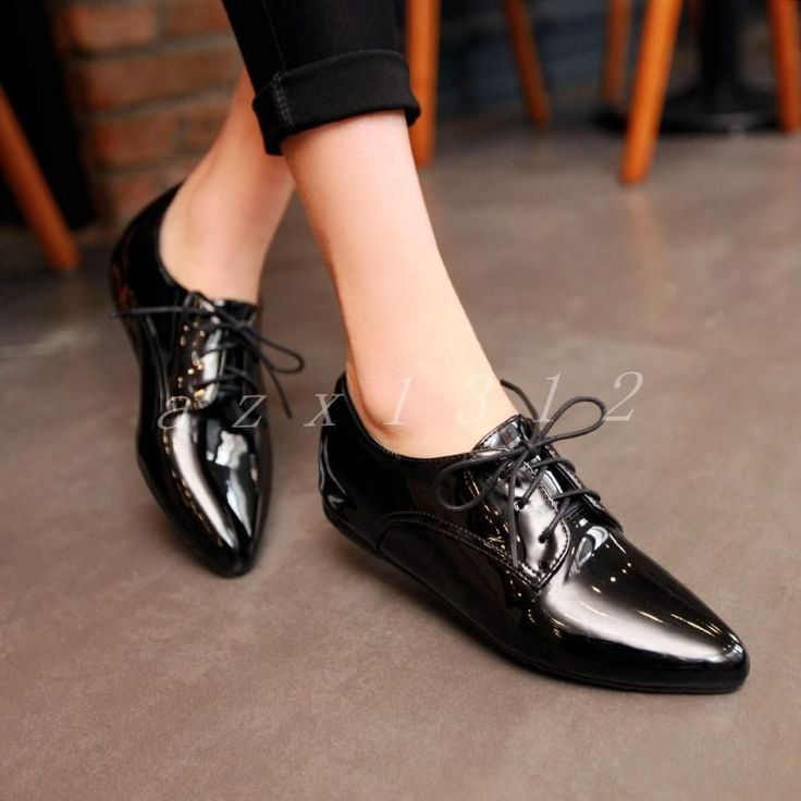 Ladies Pointy Toe Lace Up Formal Flats Patent Leather Shoes Womens Loafers Size