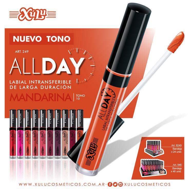 ¡Nuevo tono mate! Conocé el nuevo color Mandarina de nuestro All Day, labial intransferible de larga duración.