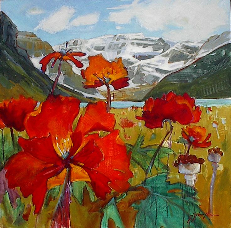 "'Mt Victoria across lake Louise' 36"" x 36"" acrylic on canvas by Gail Johnson"