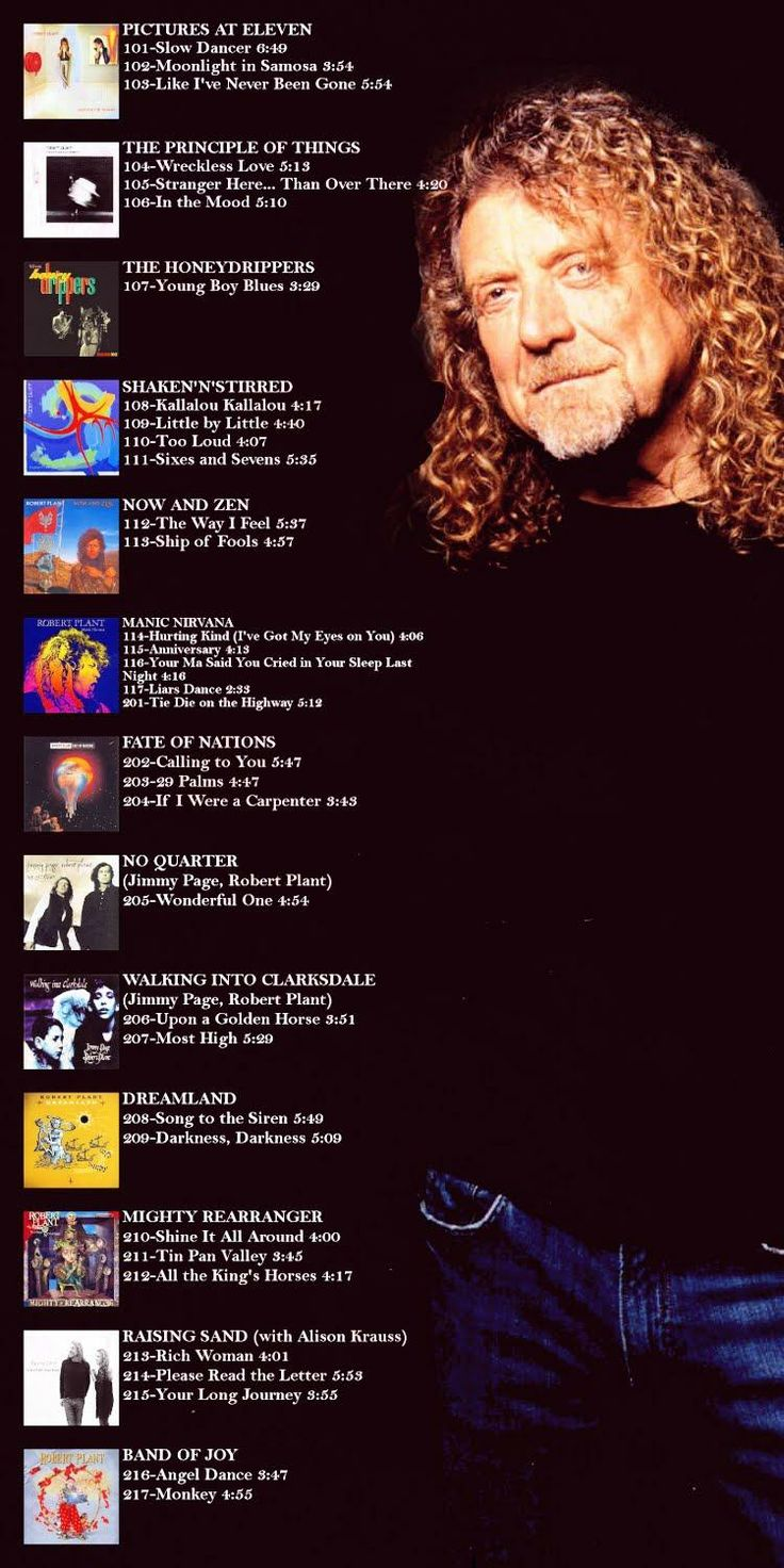 Robert Plant's non-Led Zeppelin Discography. If you bought any of these albums except the Page/Plant ones you're preventing a Led Zep reunion.  Kidding! Their 2007 London O2 Reunion 'Celebration Day' DVD/CD was a great swan song.