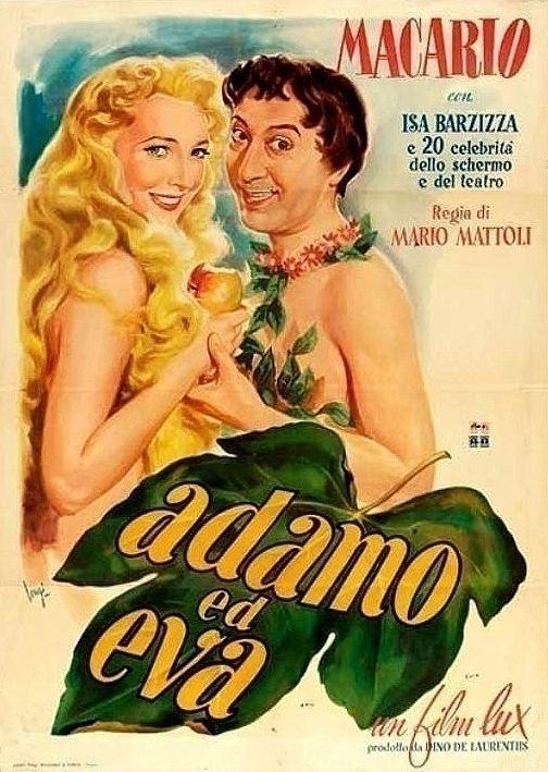 """Mario Mattoli's comedy """"Adamo ed Eva"""" (English title: """"Adam and Eve""""; 1949), starring revue and comedy star Macario (Erminio Macario) and Isa Barzizza."""