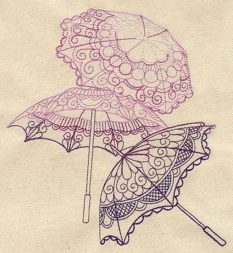 delicate parasols urban threads site has machine embroidery and hand embroidery patterns. Black Bedroom Furniture Sets. Home Design Ideas