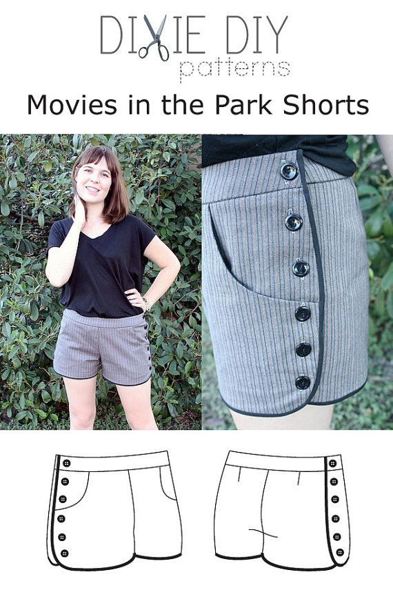 Movies in the Park Shorts Pattern  PDF download by dixiediy, $4.00