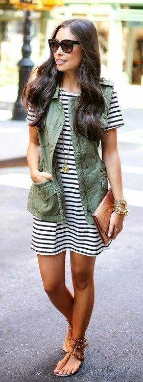 Stripes Little Dress + Military Vest I can work this for fall – Katy Hay