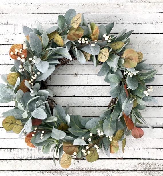 Fall Lamb's Ear Wreath, Autumn Farmhouse Wreath, White Berry Wreath, Eucalyptus Wreath, Fall Front D
