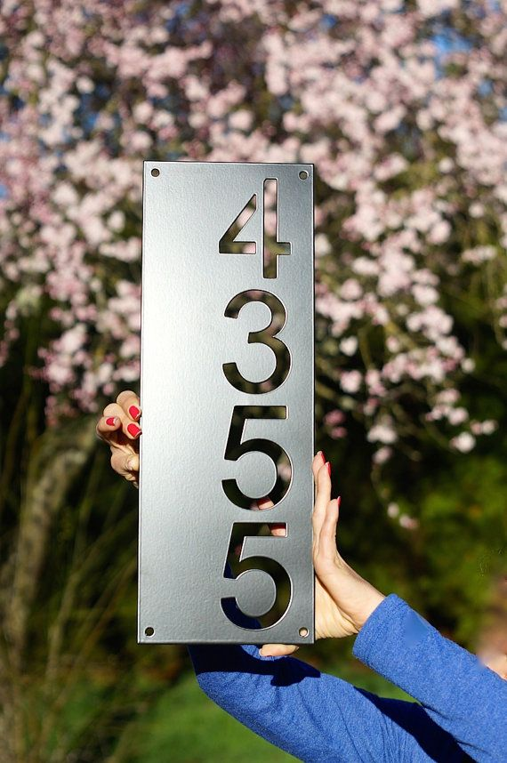 """22 Amazing Vertical Garden Ideas For Your Small Yard: Mid Century Modern House Number Vertical / 6.3"""" X 22"""