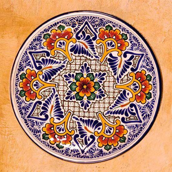 Talavera Cermic Plate Floral Blue Handmade 39 Carnation Star