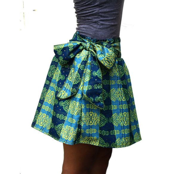 Spring Fashion Green and Blue Mini Skirt with Sash by LoNaDesign