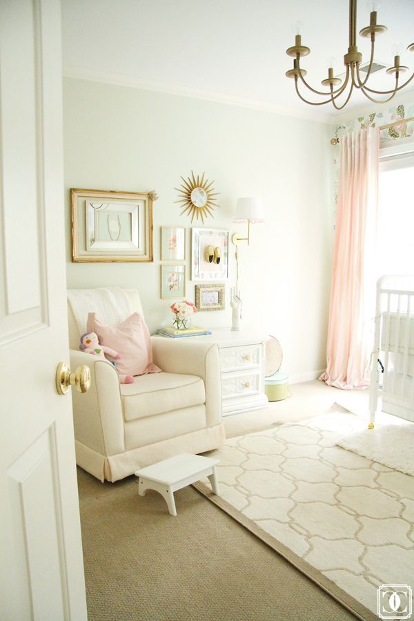 Lovely Pale Pink And White Girls Nursery, Baby Girl Nursery Home Design Ideas